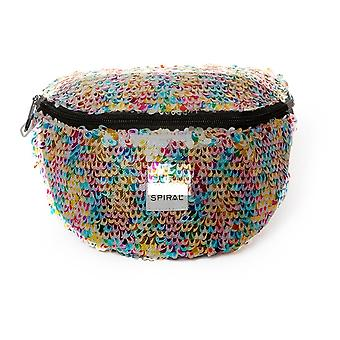 Spiral Feathered Sequins - Rainbow Bum Bag in Multi