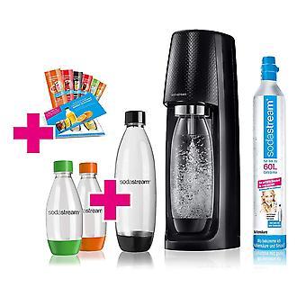 SODASTREAM Easy water bubble set advantage pack with CO2 cylinder, 1 L PET bottle, 2x 0.5 L PET bottle, 6x syrup samples, black