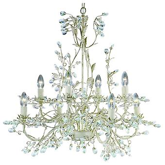 Almandite - 8 Light Ceiling, Cream Gold Finish With Leaf Dressing And Clear Crystal Deco