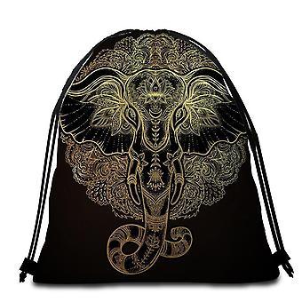 Golden Indian Elephant Beach Handtuch
