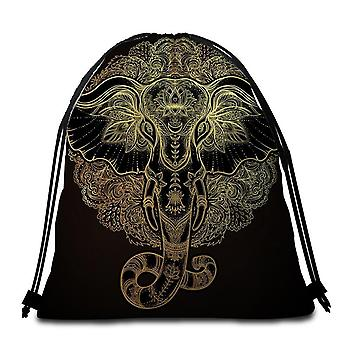 Golden Indian Elephant Beach Towel
