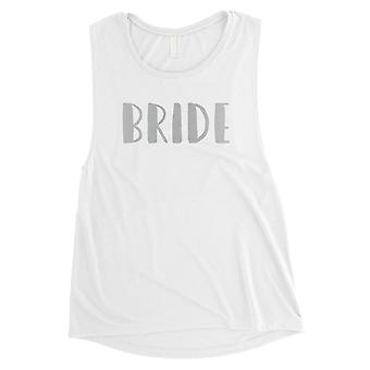 Bride-SILVER Womens White Muscle Tank Top Loyal Responible Gift