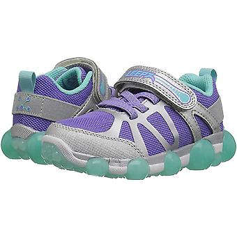 Stride Rite Girls' Leepz 3.0 Lighted Sneaker, Silver/Purple, 3 M US Little Kid