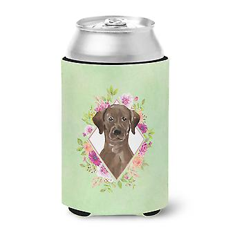 Chocolate Labrador Green Flowers Can or Bottle Hugger
