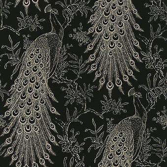 Pandore Peacock behang zwart/goud Rasch 405811