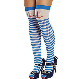 Matroos kousen blauw wit gestreepte dij hoge kousen accessoire carnaval