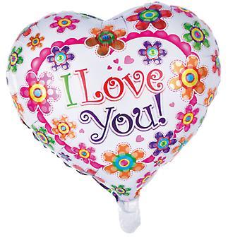 Folio pallo, sydämenmuotoinen | Rakastan sinua | -46 cm