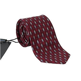 Dolce & Gabbana Bordeaux Silk Gray Bug Print Tie