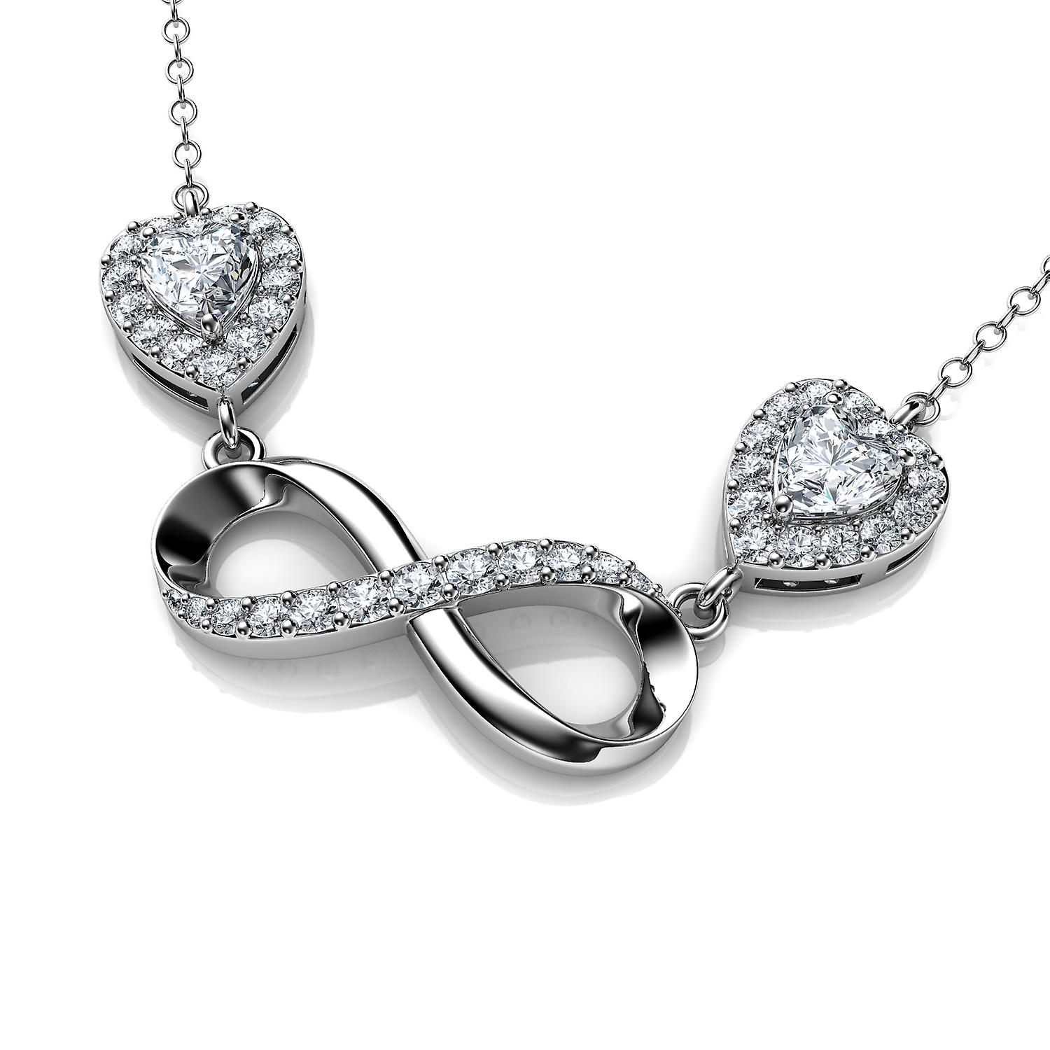 Infinity pendant - 925 sterling silver necklace hearts cz crystals