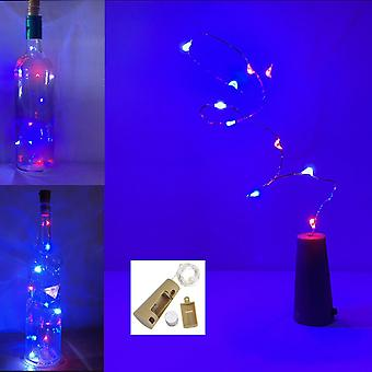 Red White & Blue Wine/Gin Bottle Stopper, Cork with LED String Light, Patriotic.
