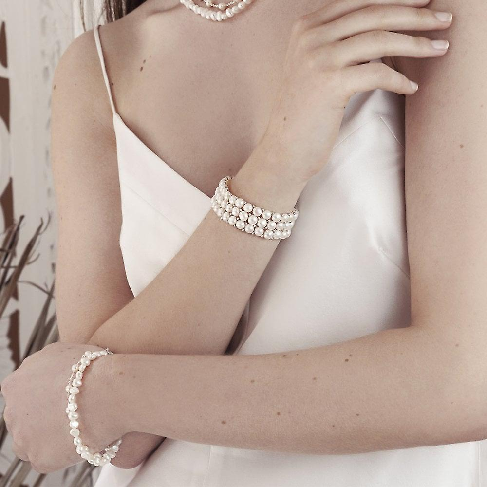 Joshua James Allure Silver & Pearl Stretch Bracelet