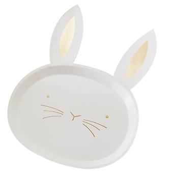 Gold Foiled Easter Bunny Paper Party Plates X 8