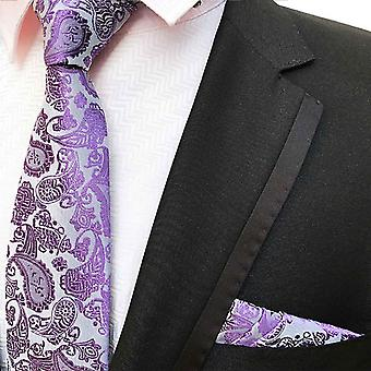 Light purple & lilac paisley event tie & pocket square