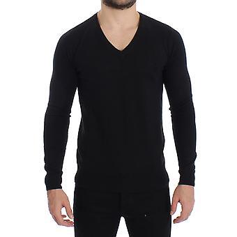 GF Ferre Black Wool Blend Mens V-Neck Pullover Sweater