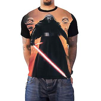 Official Mens Star Wars T Shirt Kylo Ren Pose Stormtroopers New Black Sub Dye
