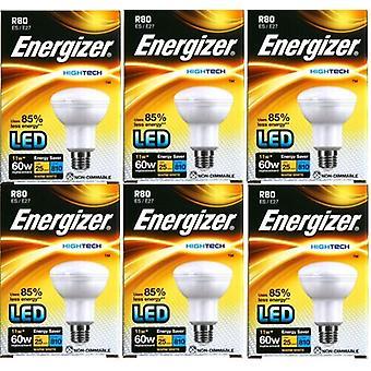 6 x Bombilla de Energizer alta tecnología LED R80 reflectora 11w = a 60w [clase energética A +]