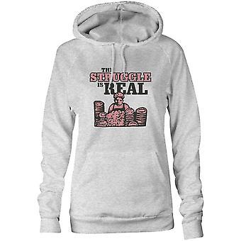 Womens Sweatshirts Kapuzen Hoodie - der Kampf ist real