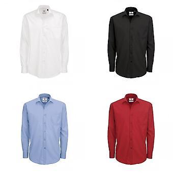 B&C Mens Smart Long Sleeve Poplin Shirt / Mens Shirts