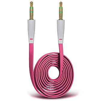 HTC Desire 626 Gold Plated 3.5mm Jack To Jack Connection Aux Auxiliary Audio Flat Cable (Hot Pink)