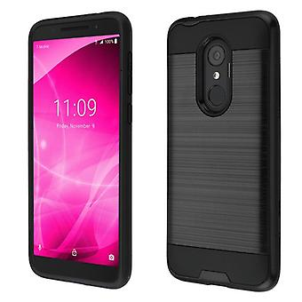 ASMYNA Brushed Hybrid Case for Alcatel T-Mobile Revvl 2/Revvl 2/3 - Black/Black