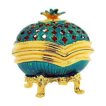 TOC Blue-Green Faberge-Style Egg Trinket Jewellery Box