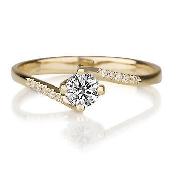 美しい 0.35 ct ホワイト サファイアとダイヤモンド リング イエロー ゴールド 14 K ユニークな