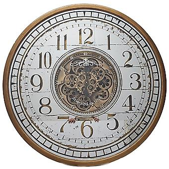 Round 80cm mirrored Château moving cogs wall clock - Gold