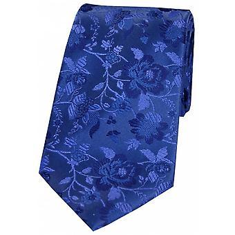 David Van Hagen Floral Patterned Silk Tie - Mid Blue