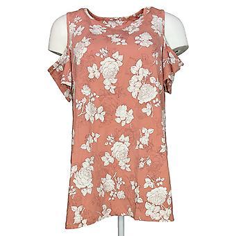 Denim & Co. vrouwen ' s top bloemen print koude schouder ronde hals roze A303132