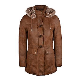 Hintertux Faux Sheepskin Duffle Coat in Nutmeg Brown