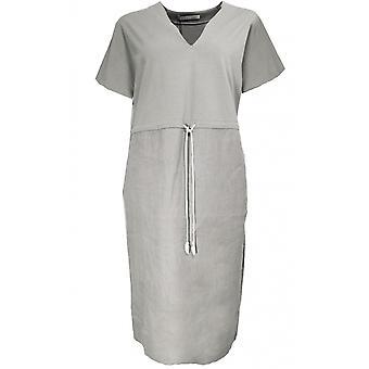 Oui geräuchert grau Leinen Shift Kleid