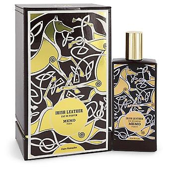 Irish Leather Eau De Parfum Spray By Memo 2.5 oz Eau De Parfum Spray