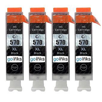 4 Schwarze Tintenpatronen ersetzen Canon PGI-570Bk Compatible/Non-OEM von Go Inks