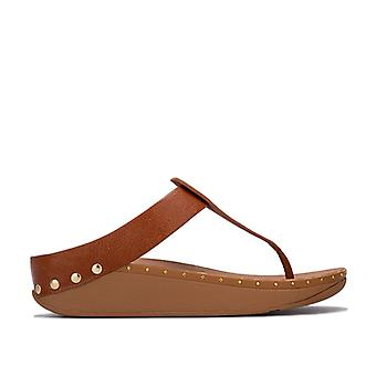 Women's Fit Flop Isabelle Stud Toe Thong Sandals in Brown