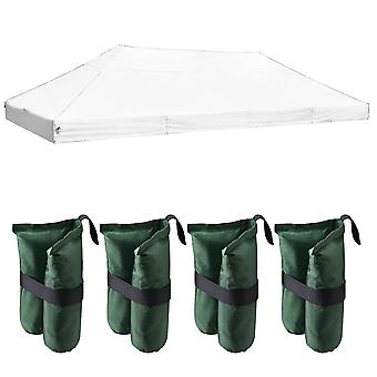 Instahibit 20x10Ft 550D Outdoor Event Pop Up Canopy Replacement CAPI-84 Tent Cover Wedding White with 4x Weight Sand Bag