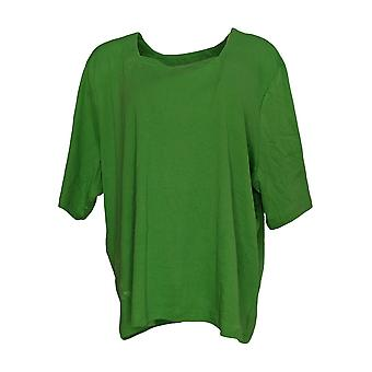 Amadora Sport Women's Plus Top Short Sleeve Stretch Knit Green