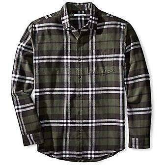 Essentials Men's Regular-Fit Long-Sleeve Plaid Flannel Shirt, Olive Pl...