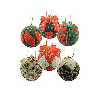 6 Christmas Fabric Covered Baubles Craft Kit