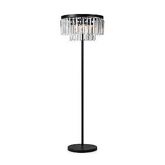3 Light Crystal Floor Lamp Black, E14