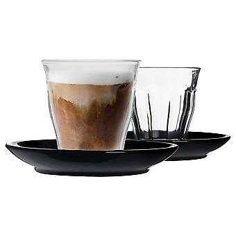 Duralex 12 Piece Picardie Glass Coffee Cup and Ceramic Saucer Set - Noir - 220ml