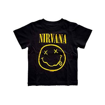 Nirvana Toddler T Shirt Yellow Smiley Logo new Official Black 12 months to 5 yrs