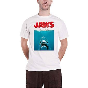 Jaws T Shirt Affisch Film Logo nya officiella Mens Vit