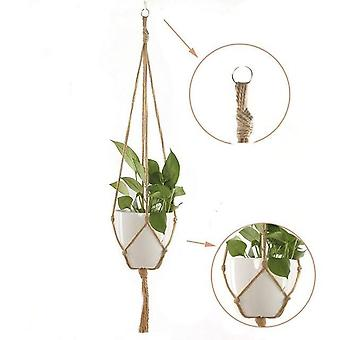 Handmade Macrame Hanging Flower Pot, Basket Knotted Rope Net Bag
