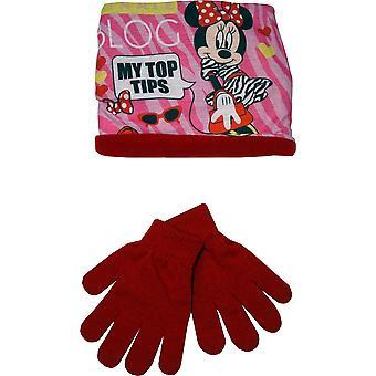 Girls RH4123 Disney Minnie Mouse Winter 2 piece set Gloves and Neck Warmer Collar