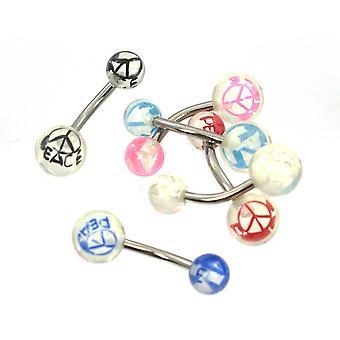 Anéis de barriga acrílico com pacote de design de paz variado de 6 aço cirúrgico 14ga