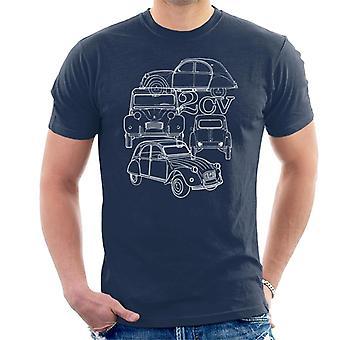 Citro?n 2CV White Angle Montage Men's T-Shirt
