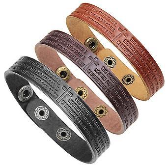 Trendy Scripture Men's Leather Bracelet Cross Italian Words Bracelets