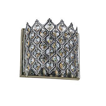 Italux Avila ABR - klassische Wandleuchte Antik Bronze 1 Licht mit Kristallschatten, G9