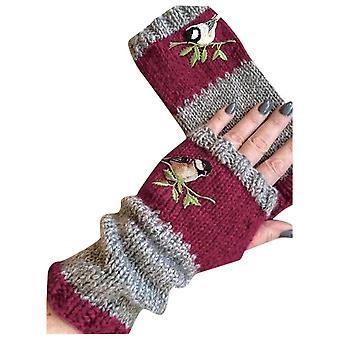Birds Embroidery Gloves Women Knitted Fingerless Plus Velvet Splice Mittens