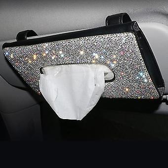 Bling Crystal Car Tissue Box Sun Visor Diamond Leather Auto Tissue Paper Holder